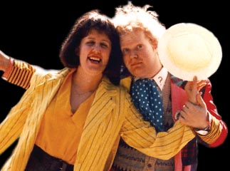 Jennifer Adams Kelley as Peri and Steve Hill as the Sixth Doctor